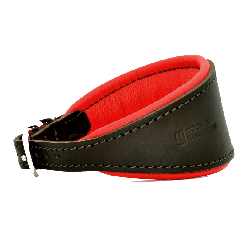 Luxury Red Leather Hound Collar by Dogs & Horses