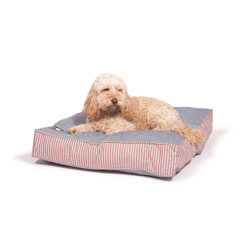 Maritime Blue and Red Box Duvet Dog Bed