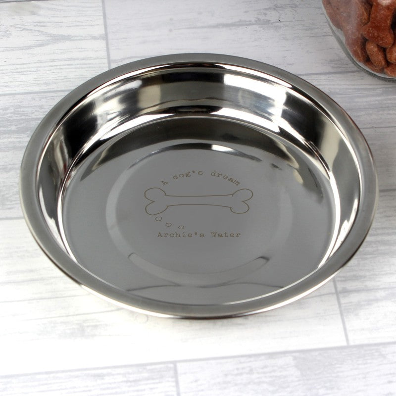 Personalised A Dog's Dream Engraved Stainless Steel Dog Bowl