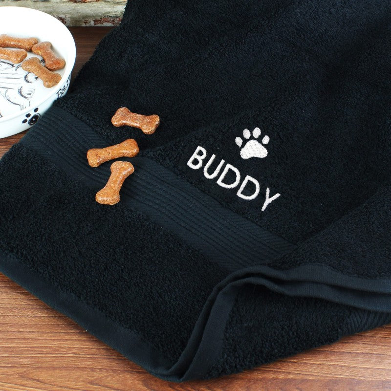Personalised Paw Print Black Pet Bath Towel