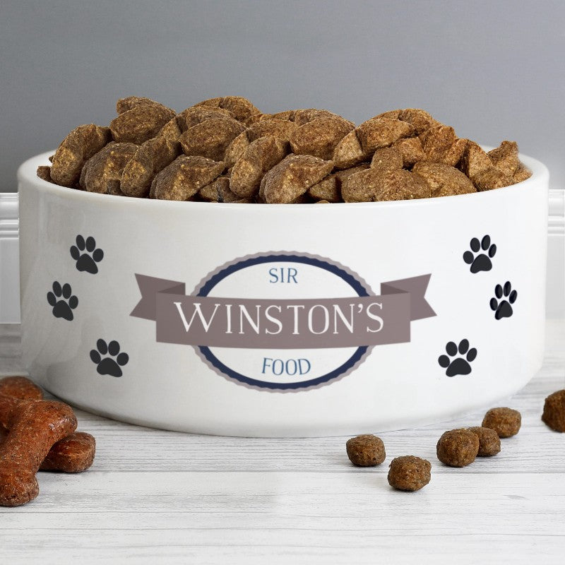 Large Personalised Paw Print Ceramic White Pet Bowl