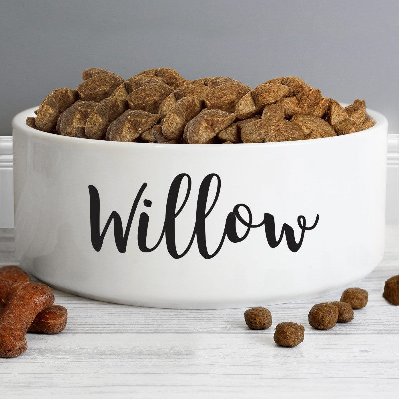 Personalised Large Ceramic White Pet Bowl