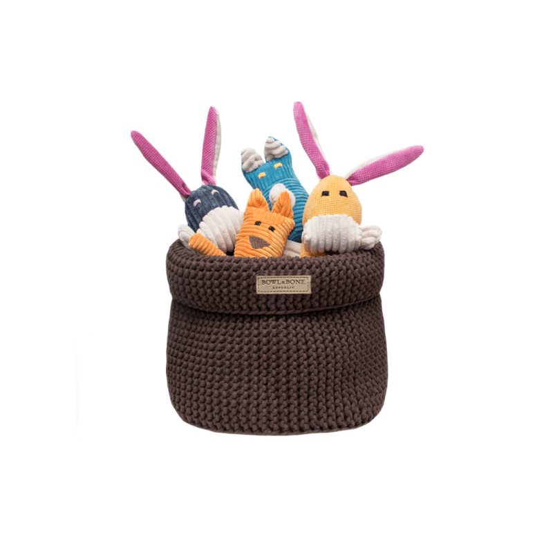Bowl and Bone Brown Cotton Dog Toy Storage Basket