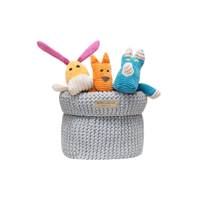 Bowl and Bone Grey Cotton Dog Toy Storage Basket
