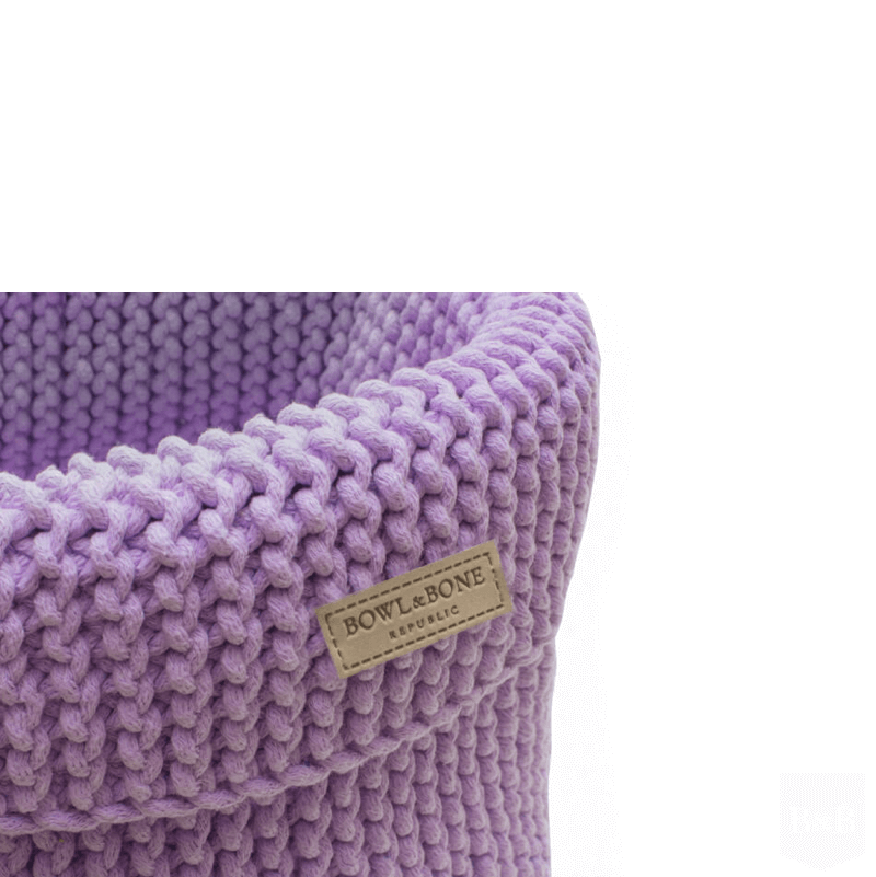 Bowl and Bone Lily Purple Cotton Dog Toy Storage Basket
