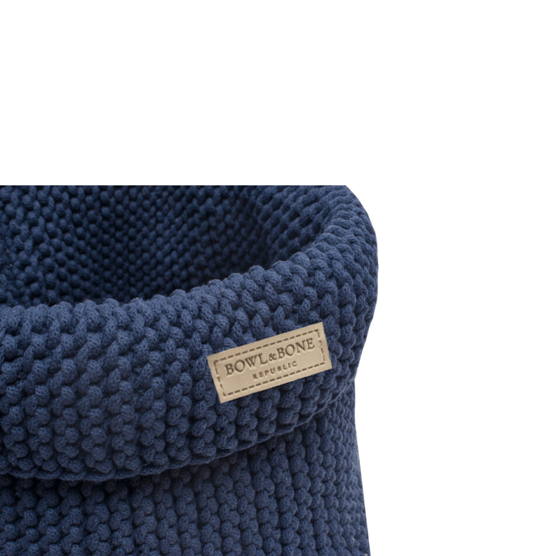 Bowl and Bone Navy Cotton Dog Toy Storage Basket