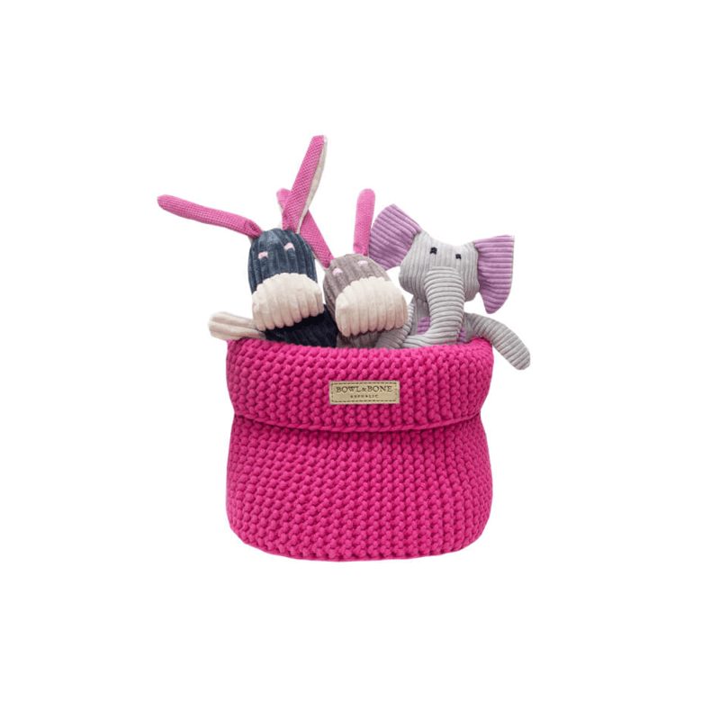 Bowl and Bone Pink Cotton Dog Toy Storage Basket
