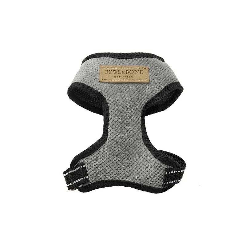 Bowl and Bone Candy Grey Dog Harness