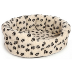 Cream Paw Print Fleece Softee Dog Bed