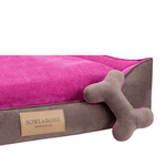 Bowl and Bone Classic Dog Bed in Brown and Pink