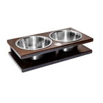Bowl and Bone Chestnut Grande Double Dog Bowl Stand