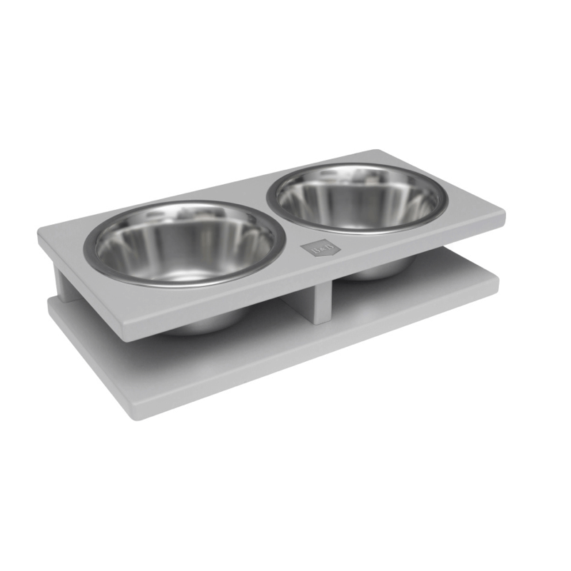 Bowl and Bone Grey Grande Double Dog Bowl Stand