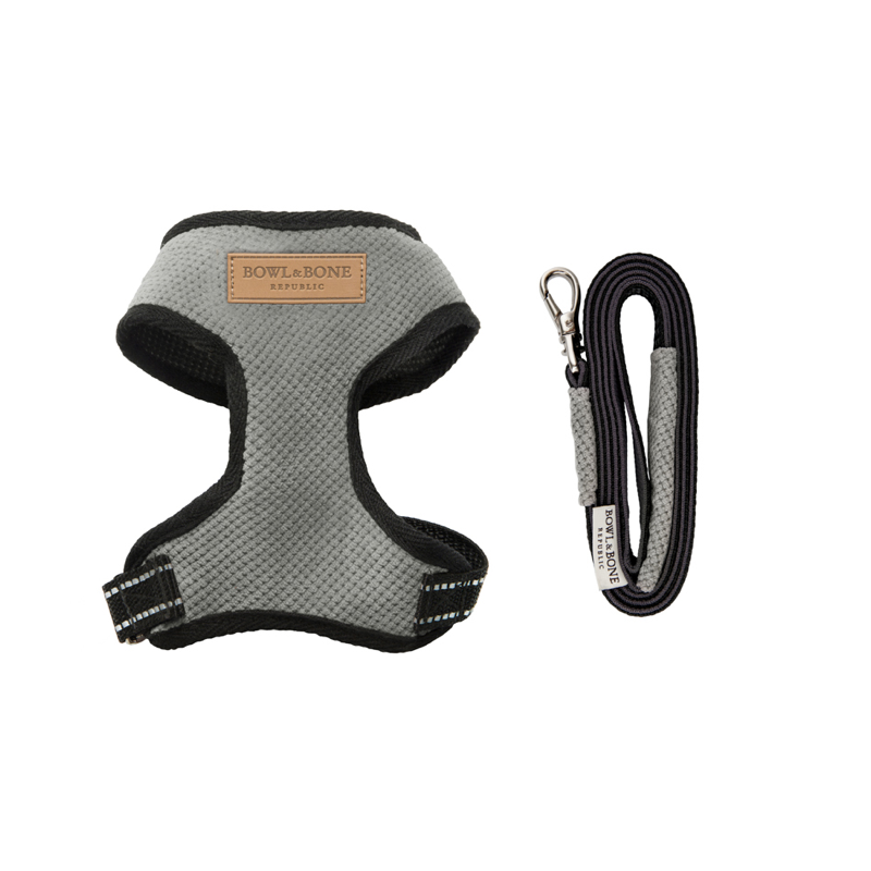 Bowl and Bone Candy Grey Dog Harness and Lead Set