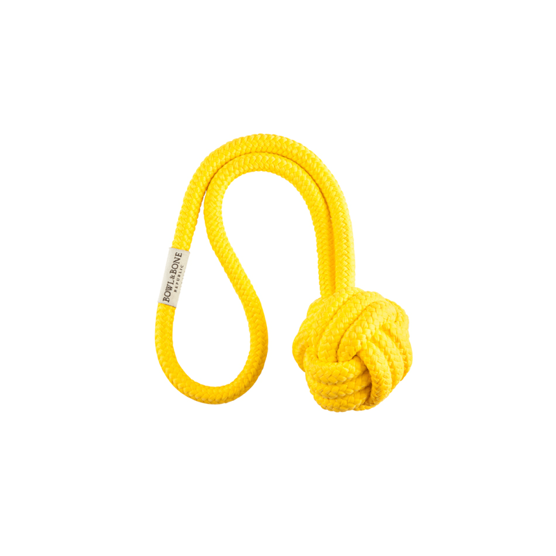 Bowl and Bone Yellow Bullet Rope Dog Toy