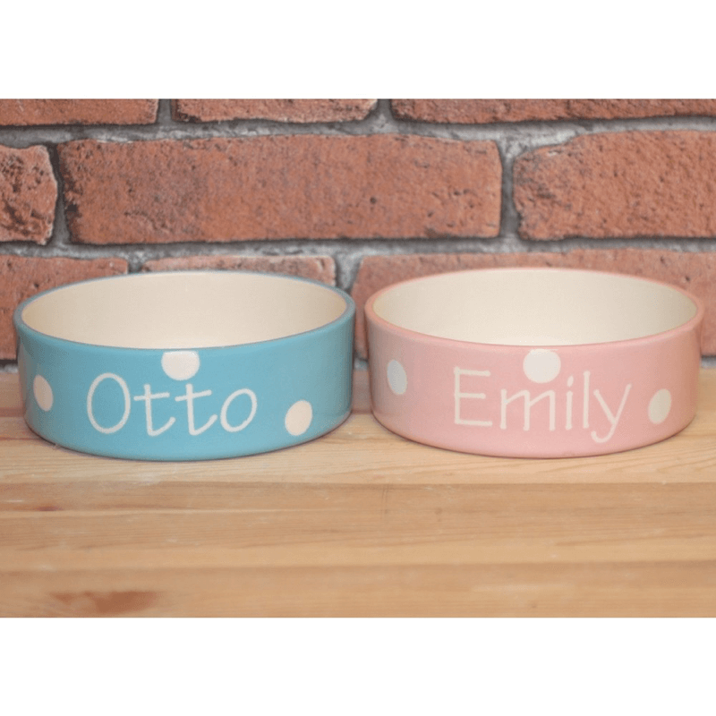 Personalised Ceramic Polka Dots Dog Bowls
