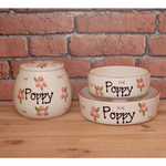 Personalised Ceramic Dog Bowl with Roses