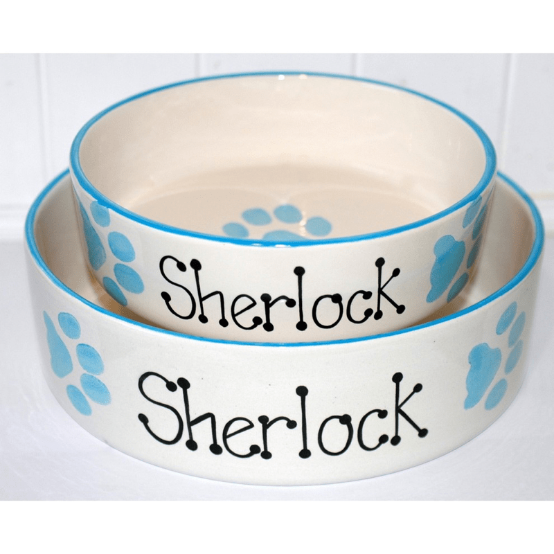 Personalised Ceramic Paw Print Dog Bowl