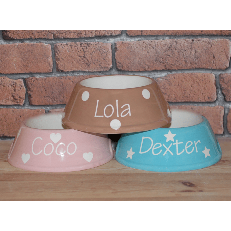 Personalised Ceramic Slanted Polka Dots Dog Bowl