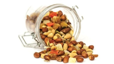 Dried nuts and fruits trail mix
