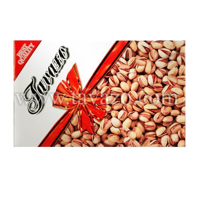 1 Kilogram of Roasted and salted Iranian pistachios in Tavazo's gift box.