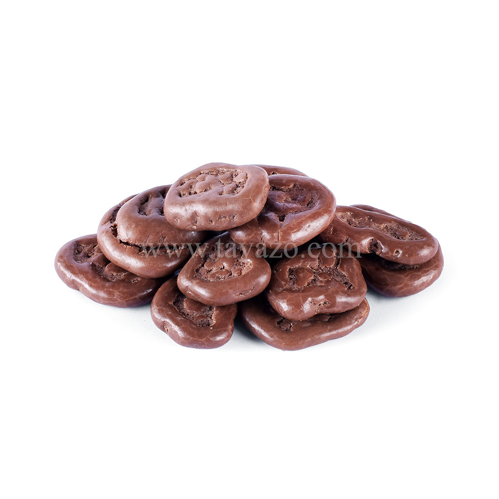 Milk chocolate covered banana chips. Crunchy delicious chocolaty snack.