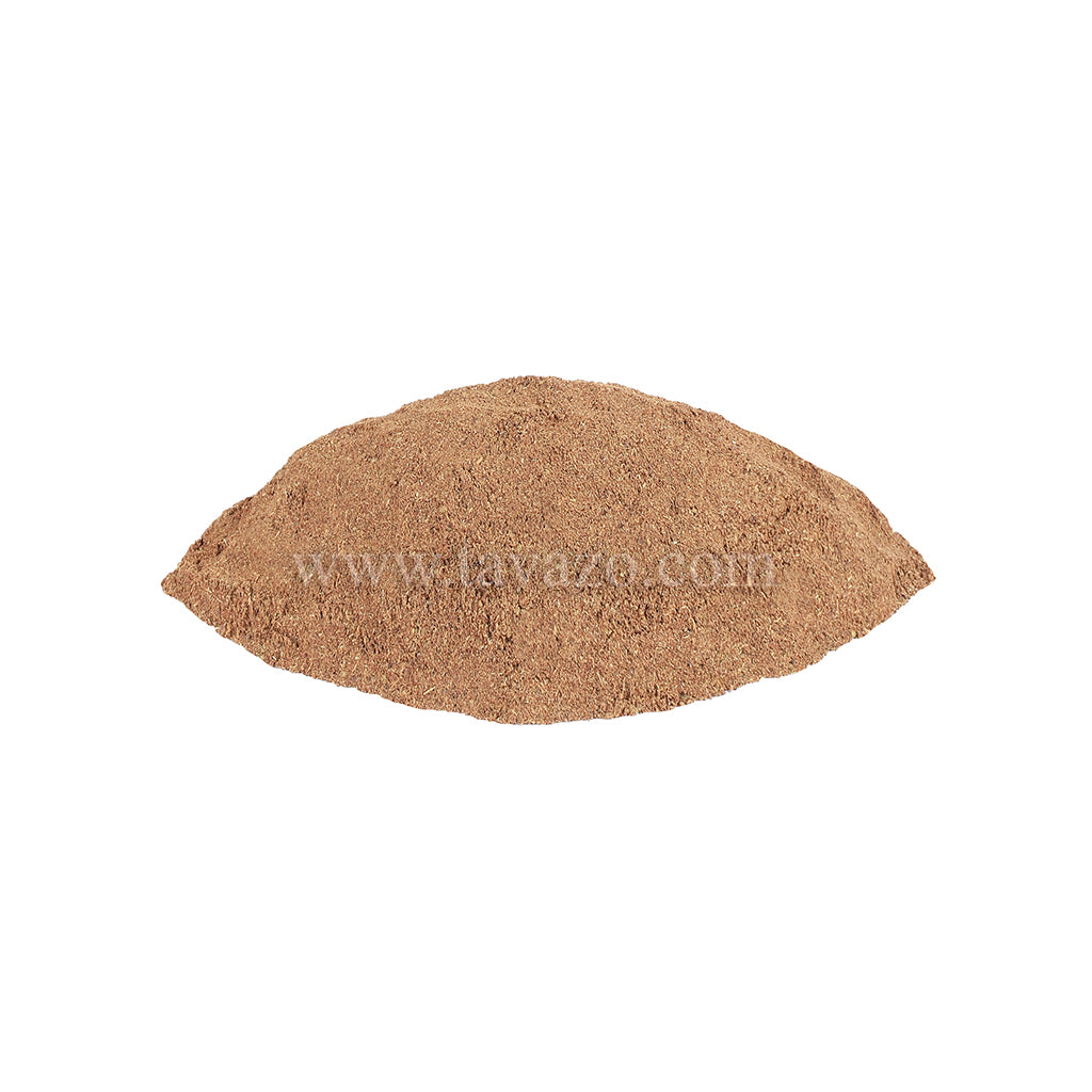 Black cumin powder. Used in savory recipes, like chili, stews, meat, fish, and vegetables