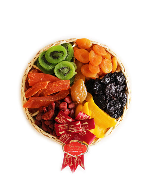 Assorted dried fruits gift basket tray.