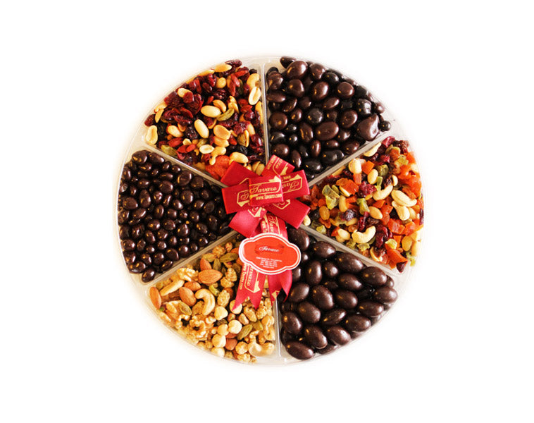 Assorted chocolate, dried fruits and nuts gift tray.