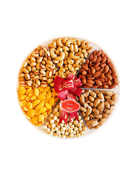 Salted Mix Nuts Large Round Tray - Tavazo Corporation