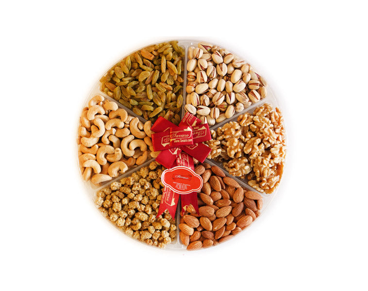 Natural and organic assorted dried fruits and nuts gift tray.