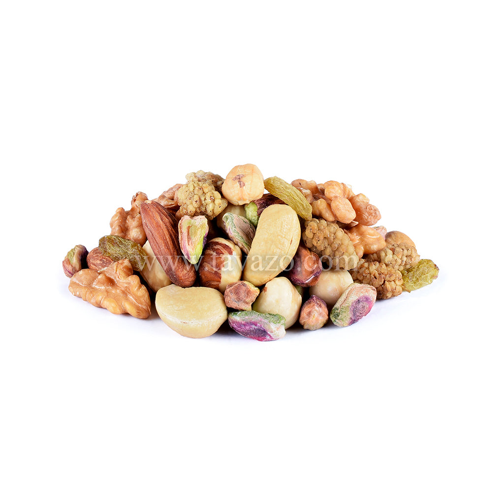 Assorted natural mixed nuts. Mix of almonds, cashews, hazelnut, mulberry, green raisins, pistachio kernel.