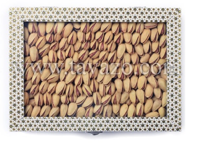 Fancy gift box with 500 grams of high quality Iranian roasted and salted pistachios.