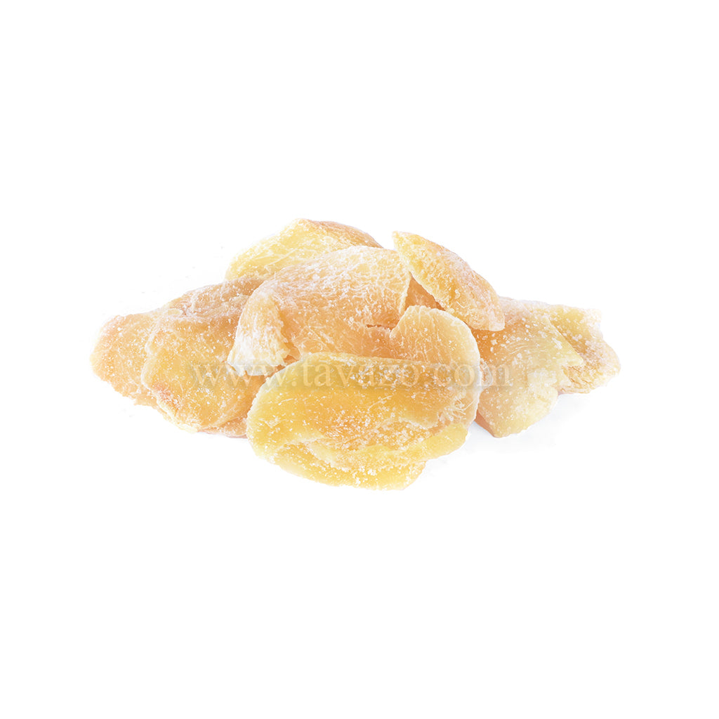 Dried ginger. Sugar coated sliced gingers from California.
