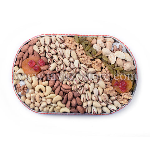 Natural and organic dried fruits and nuts gift basket tray. Shop online.
