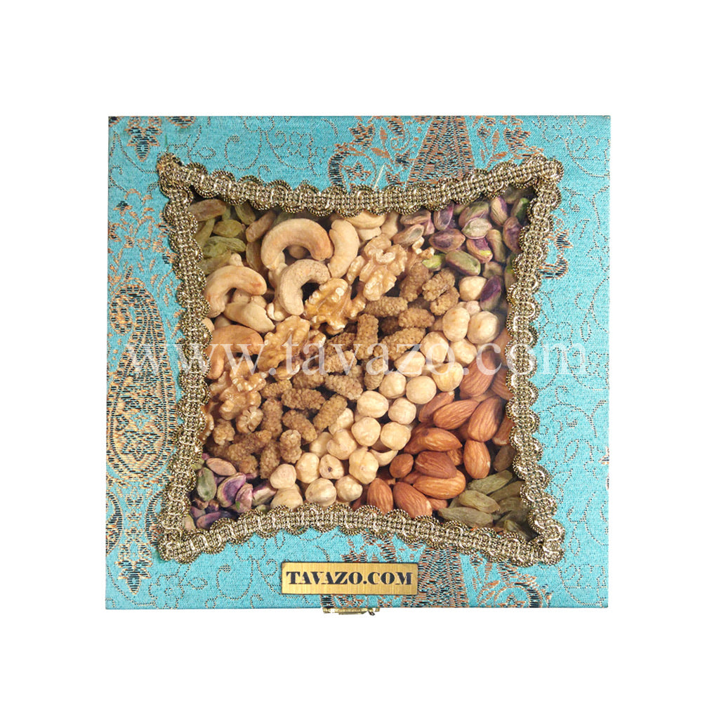 Natural Mixed Nuts in Blue Handmade Box - Tavazo Corporation