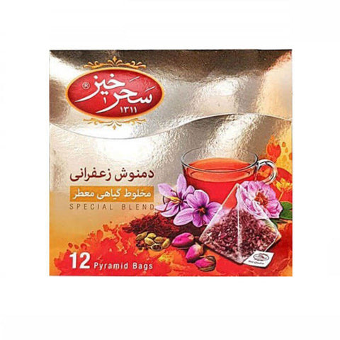 Sahar Khiz Saffron Herbal Infusion 12 Pyramid Bags 2gr - Tavazo Corporation