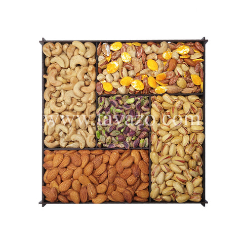 Salted Mixed Goodies In Wooden Divider Box - Tavazo Corporation