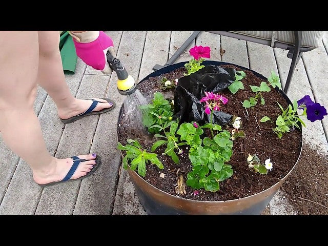 Join us as we DIY a high wind patio umbrella flower pot
