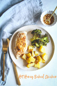An easy baked chicken dinner made on one sheet pan? Sign me up! This hot honey baked chicken with roasted broccoli and potatoes is such a great easy family meal to make, you'll be making it on repeat!