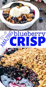 This quick, easy, amazing Blueberry Crisp boasts sweet and syrupy blueberries with a crunchy golden oat crumble for a delicious dessert
