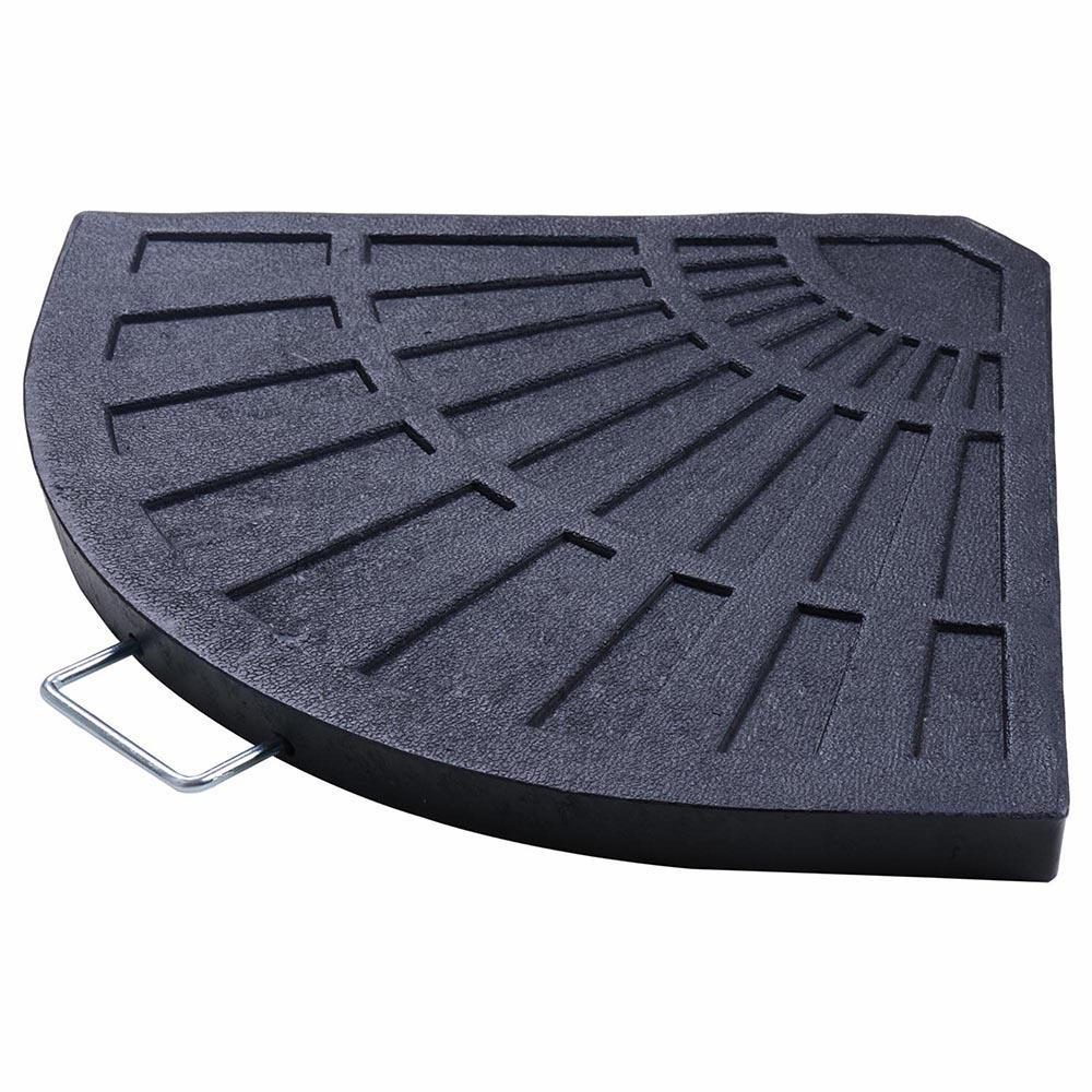 "27lbs 19"" Fan Shaped Resin Beton Base Stand Black for Outdoor Patio"