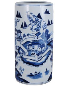 #3434 Blue and white Canton style porcelain umbrella stand