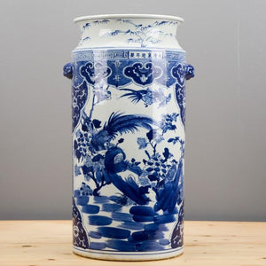 #4329 Blue And White Chinoiserie style Umbrella Stand