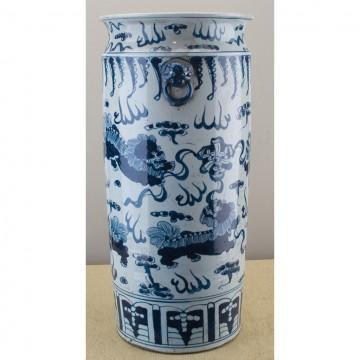 #5639 Blue and White Chinoiserie style large tall vase/ umbrella stand