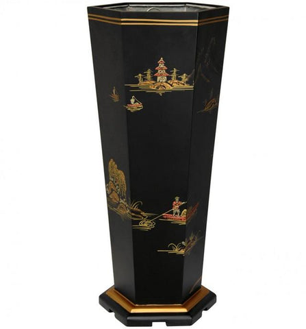 #7225 Black Lacquer Landscape Umbrella Stand