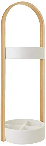 Umbra Hub Umbrella Stand, Space-Saving Umbrella Stand, Great for the Front Door/ Entryway, White Natural