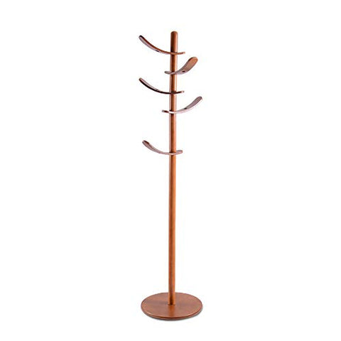 Yaker's collection Wooden Coat Rack Stand, 5 Rotatable Hooks Coat Racks Free Standing, Adjustable Size, Easy Assembly Entryway Hall Tree Coat Hanger for Cloths, Hat, Handbags, Umbrella(Walnut)