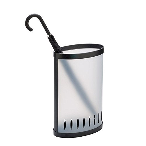 ALBA Plastic Elliptical Umbrella Stand, Clear with Black Trim (PMKIT)