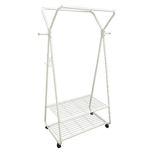 Qi Peng- Heavy Duty Metal Clothing Garment Rack Commercial Grade Clothes Rack with Top Rod and 2 Tier Storage Shelves for Entryway Bedroom,Height 167cm @ (Color : White)