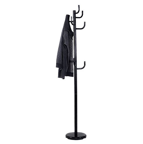 Metal Coat Rack Hanger with Round Base Hat Tree Stand Hall Hook Holder Black Umbrella Hooks Entryway Storage Jacket Clothes Bags Organizer Home Décor Office New